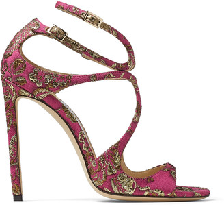 Jimmy Choo LANCE Pink and Gold Brocade Strappy Sandals