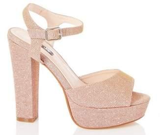 Dorothy Perkins Womens *Quiz Rose Gold Block Heel Sandals, Rose Gold