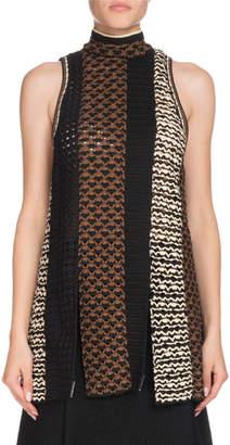 Proenza Schouler Sleeveless Tie-Neck Multicolor Crochet Tunic