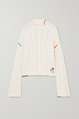 J.W.Anderson Embroidered Cable-knit Cotton Sweater - White