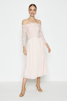 Coast Lace Bodice Bardot Midi Dress