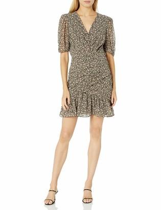 ASTR the Label Women's Short Sleeve Faux Wrap Ruched Drop Waist Mini Dress