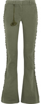 Figue Gregorie Fringed Cotton-blend Twill Flared Pants - Army green