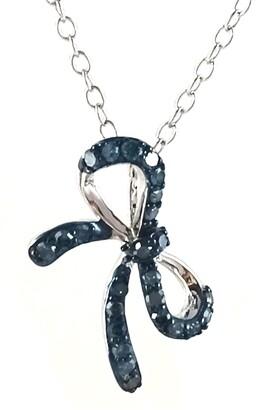 Savvy Cie Sterling Silver Pave Blue Diamond Bow Pendant Necklace - 0.25 ctw
