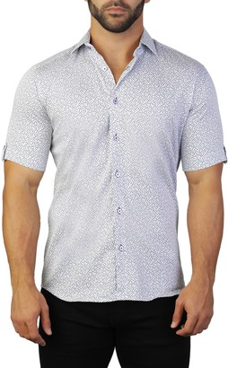 Maceoo Galileo Short Sleeve Dot Print Tailored Fit Dress Shirt