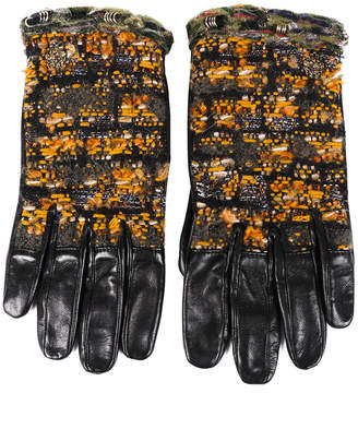 Chanel Tweed & Leather Gloves