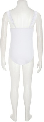 River Island Girls Ribbed Frill Swimsuit-White