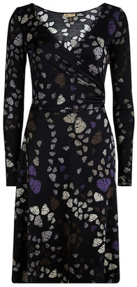 Issa Black Butterfly Printed Silk Wrap Dress S