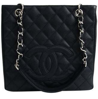 Chanel Petite Shopping Tote Navy Leather Handbags