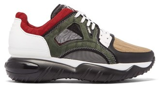 Fendi Exaggerated-sole Leather And Mesh Trainers - Mens - Grey Multi