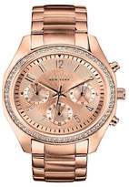 Caravelle New York by Bulova Women's Chronograph Rose Gold-Tone Stainless Steel Bracelet Watch - 44L117