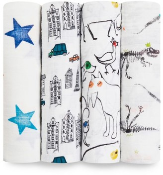 Aden Anais Baby's Color Pop Fossil 4-Pack Swaddling Cloth Set