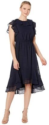 Calvin Klein Chiffon Jacquard Dress with Ruffle Arm and Neck (Indigo) Women's Dress