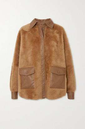 REMAIN Birger Christensen Beiru Leather-trimmed Shearling Jacket - Brown