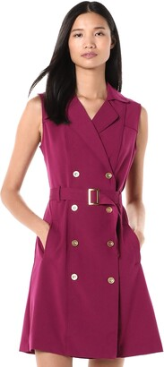 Sharagano Women's Sleevelss Double Breasted Shirt Dress
