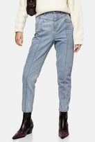 Topshop Bleach Yoke Panel Mom Tapered Jeans