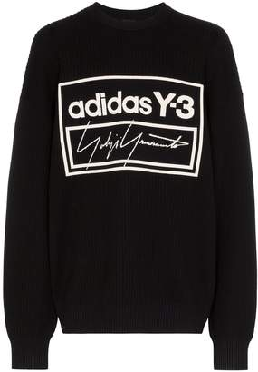 Y-3 oversized logo tech knit jumper