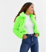 Brave Soul Petite rome neon cropped faux fur jacket