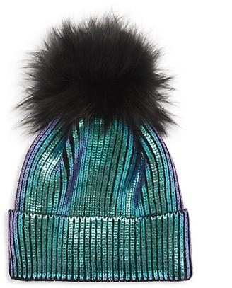 Adrienne Landau Fox Fur Pom-Pom Metallic Knit Beanie