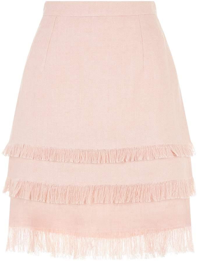 Andrew Gn Linen Tasseled Mini Skirt