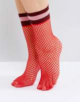 Asos Stripe Welt Fishnet Socks In Red