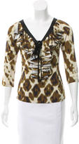 Just Cavalli Ruffle-Accented Lace-Up Top