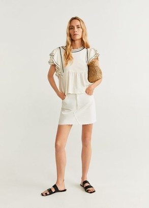 MANGO Ruffled embroidered blouse off white - S - Women