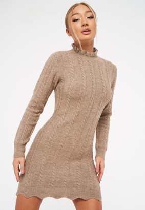 Missguided Stone Frill Neck Cable Knit Mini Dress