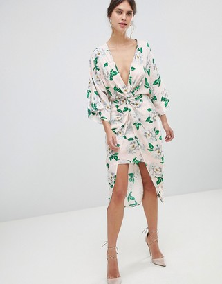 Asos Design DESIGN pretty floral satin kimono midi dress