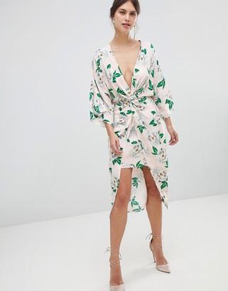ASOS DESIGN pretty floral satin kimono midi dress