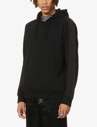Fendi Brand-tape cotton, wool, silk and cashmere-blend hoody