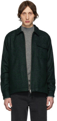 Schnaydermans Black and Green Boucle Zipshirt Jacket