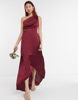 TFNC Bridesmaid one shoulder maxi dress in burgundy