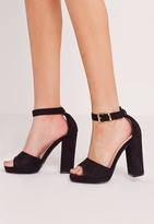 Missguided Platform Block Heel Barely There Sandals Black
