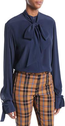 Rokh Open-Back Tie-Neck Long-Sleeve Silk-Blend Tunic Blouse