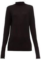 Raey Sheer Raw-edge Funnel-neck Cashmere Sweater - Womens - Black