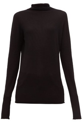 Raey Sheer Raw-edge Funnel-neck Cashmere Sweater - Black