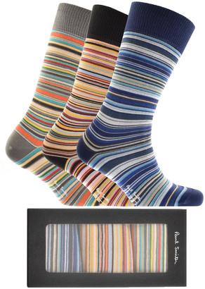 Paul Smith Gift Set 3 Pack Stripe Socks Blue