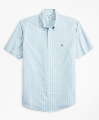 Brooks Brothers Stretch Regent Fitted Sport Shirt, Non-Iron Short-Sleeve Stripe