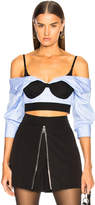 Alexander Wang Off Shoulder Cropped Shirt with Bra