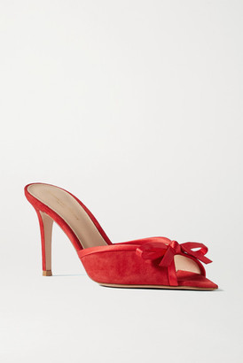 Gianvito Rossi 85 Bow-detailed Satin-trimmed Suede Mules - Red