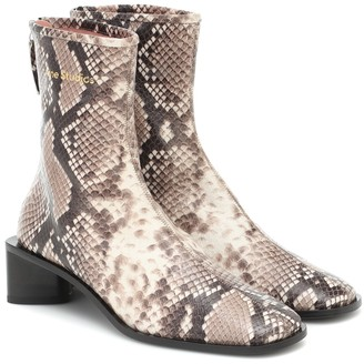 Acne Studios Snake-effect leather ankle boots