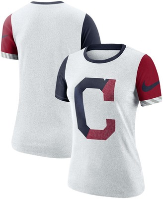 Nike Women's Heathered White Cleveland Indians Slub Two-Tone Logo Performance Crew Neck T-Shirt