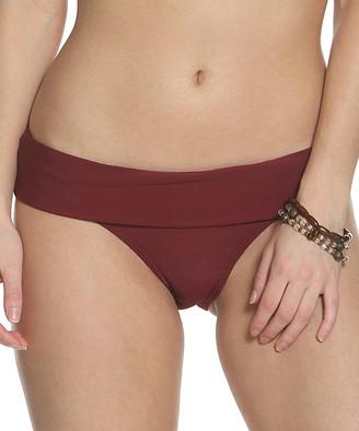Sun And Sea Sun and Sea Women's Bikini Bottoms BURGUNDY - Burgundy Fold-Over Bikini Bottoms - Women