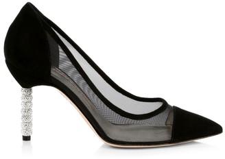 Sophia Webster Jasmine Embellished-Heel Suede & Mesh Pumps