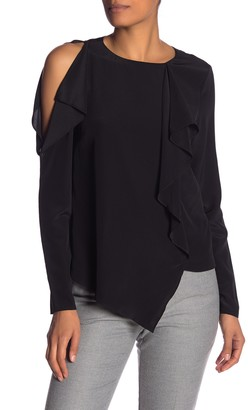 Nicole Miller Cold Shoulder Solid Silk Asymmetrical Blouse
