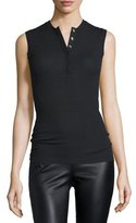 ATM Anthony Thomas Melillo Sleeveless Stretch Henley Tee, Black