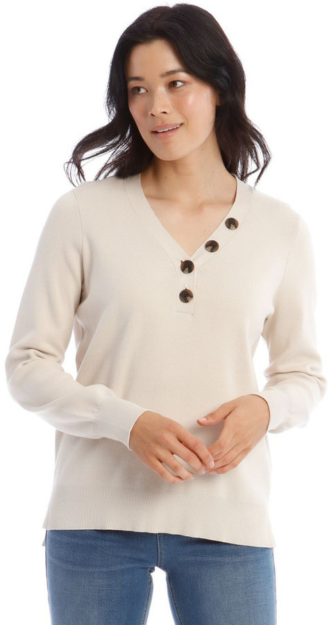 Regatta V-Button Neck Long Sleeve Jumper