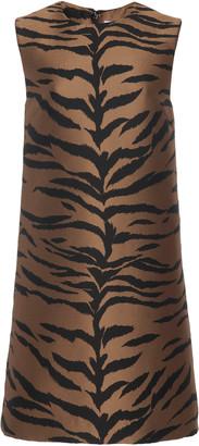 Carolina Herrera Animal-Print Satin-Jacquard Mini Dress