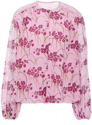 Giambattista Valli Lace-trimmed Floral-print Silk-chiffon Blouse